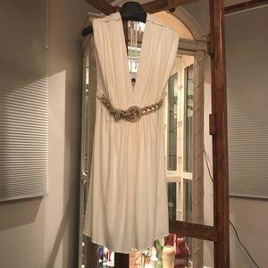 Sky off white V dress with reinstones gold Belt M